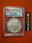 2011 W Burnished Silver Eagle Pcgs Ms69 Flag First Strike Label