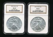 2 -1996 Silver American Eagle Coins Set Both Graded Ngc Ms69 Scarce Q