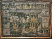 Huge Antique Pichwai Painting Real Gold Painted On Silk Framed Krishna Art.