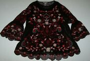 Nwt John Mark Black/red Embroiderd Floral Layered Cami/tunic Top Set L Gorgeous
