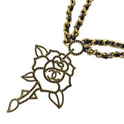 Authentic Flower Motif Necklace Rhinestone Rose Leather No.5512