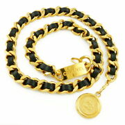 Previously Owned Belt Chain Coco Mark Vintage Gold Black Women No.5948