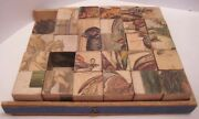 Old 1880s Paper Litho Wood Picture Puzzle Blocks - Birds / Hunt Scene / Monument