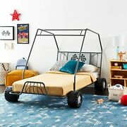Twin Size Bed In Gunmetal Go Kart Bed Room Youth Children Vehicles Steel Frame