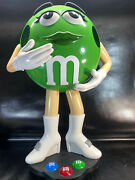 """Green Mandm Lady Rolling Store Candy Display. Free Shipping. 39"""" Tall 26"""" Wide"""