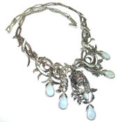 Massive Panther Genuine Blister Pearl Marcasite .925 Sterling Silver Handmade