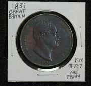 1831 Great Britain One Penny Km 707