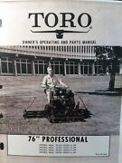 Toro 76 Professional Riding Reel Lawn Tractor 06123 06183 Owner And Parts Manual