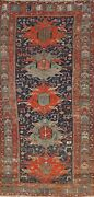 Antique Vegetable Dye Heriz Serapi Hand-knotted Runner Rug Tribal Oriental 4and039x9and039