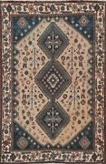 Antique Muted Geometric Tribal Abadeh Hand-knotted Area Rug Wool Oriental 6and039x8and039