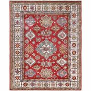 8and039x10and039 Hand Knotted Red Super Kazak Medallion Design Wool Oriental Rug R61153