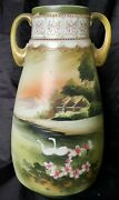 Antique Nippon Hand Painted Swans Andlandscaping Morriage Art Deco Vase 125