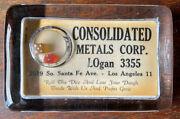 Vintage Glass Advertising Paperweight Consolidated Metals Corp. Los Angeles