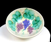 Judy Goodwin Signed Art Pottery Grapes And Leaves 8 1/4 Conical Bowl