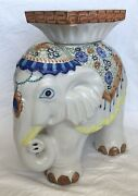 Vintage Large White W/accents Ceramic Elephant Stool / Side Table / Plant Stand