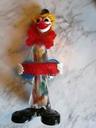 Contemporary Italian Blown Colorful Glass Figure Of A Clown W/ An Accordion
