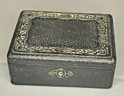 Antique Leather Covered Menand039s Jewelry Box With Sterling Silver Trim