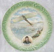 French Talking Plate Aviation History Pioneer Aviator Bleriot Antique C. 1915