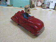 Vintage 1930's Sun Rubber Donald Duck With Pluto Red Car Toy