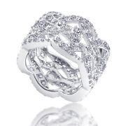 Simulated Diamond Cluster Band Ring 14k White Gold Ove Sterling Silver 925