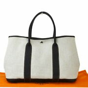 Previously Owned Middle Hermes Garden Party Mm Tote Bag Nanga Brown No.16