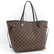 Previously Owned Louis Vuitton Tote Bag Neverfulle Mm Damier Ebene Tea No.1367
