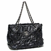 Ultra Stitch Rope Quilting Chain Shoulder Bag Vintage Leather No.7964