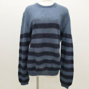 Knit Cut-and-sew Border Sweater Tops Blue Navy Long Sleeve No.3216