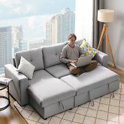 Full Size Convertible Sleeper Sofa Bed Pull Out Futon Sofa Couch With Storage Us