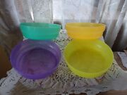 Tupperware Microwave Reheatable Cereal Soup Bowls And Seals 2415 Set 4 Nos New