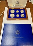 1986 Statue Of Liberty Ellis Island Com Proof And Unc 6 Coin Silver And Gold Set.