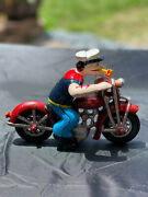 Vintage Cast Iron Popeye On Harley Motorcycle Sailor Man Hand Painted