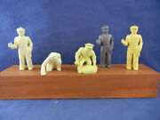 5 Marx 60mm Vinyl Gas Service Station Worker Figures For Playset