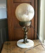 Vintage Art Deco Lady Figural Table Lamp W/ Crackle Glass Globe Marble Base