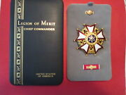 Legion Of Merit Chief Commander Medal Badge In Case With Rbar And Lapel Pin Lom