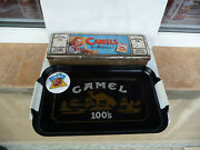 3 Camel Collectibles Tin Box Plastic Tray Badge Cigarettes Vintage Used Rare