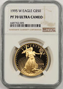 1995-w American Gold Eagle 50 One-ounce 1 Oz Proof Pf 70 Ultra Cameo Ngc