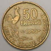 1953 France French 50 Francs Rooster Coin Vf+