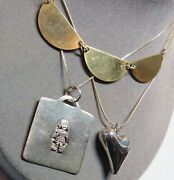 Vintage 3 Pc Lot Sterling Silver Pendant Necklaces Heart Girl Child Mixed Metals