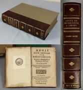 1727 Gabriel Naudandeacute Rare French Work On Establishing Your Own Library 1st Edition