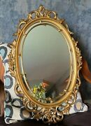 Vintage Gold Burwood Ornate Oval Wall Mirror Hollywood Regency French Country