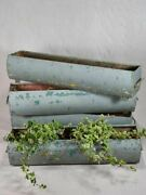 Four Mid-century French Window Planters With Blue Patina 33andfrac12