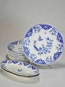 Vintage French Gien Dinnerware - Blue And White