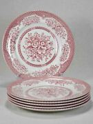 Set Of 6 English Ironstone Dinner Plates - Pink Bouquet Wood And Sons 10andfrac14
