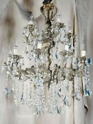 Antique French Chandelier - Bronze And Crystal