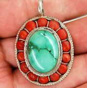 Vintage 925 Sterling Silver Turquoise And Coral Gem Bead Tribal Design Pendant