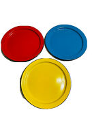 Vtg Otto Japan Rim Enamel Ware Dinner Plates Lot Of 6 Red Yellow Blue See