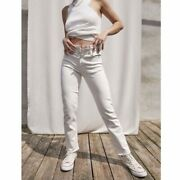 Mother Womenandrsquos Sz 32 The Tomcat Straight Leg Ankle Jeans In Cream Puffs White