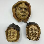 Antique Silly Monks 3 Of The 7 Deadly Sins Chalkware Pipe Match Candle Holder