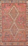 Antique Pre-1900 Abadeh Tribal Hand-knotted Area Rug Wool Oriental 4and039x6and039 Carpet